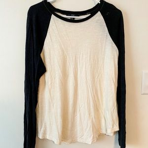 Ivory and black baseball long-sleeved Tee